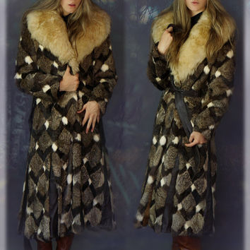 Exceptional vintage rabbit and sheepskin fur coat / Rock star patchwork and leather panels haute hippie long warm 70s jacket