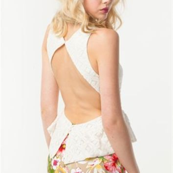 A'GACI LACE OPEN BACK PEPLUM TOP - New Arrivals