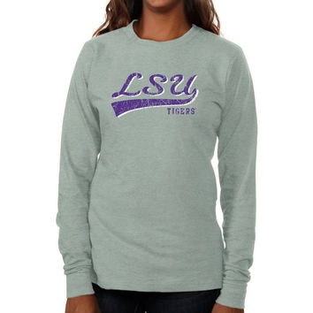 LSU Tigers Ladies All-American Primary Long Sleeve Slim Fit T-Shirt - Ash
