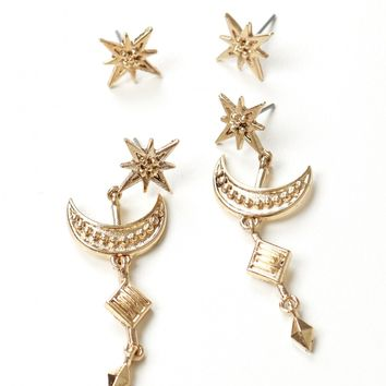 Moon & Star 2 Piece Earring Set Gold