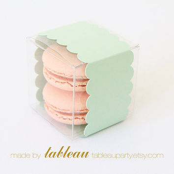 Clear Favor Boxes with Mint Green Scallop Bands - Set of 25