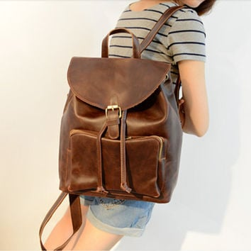 144336f96f Retro men women Leather Backpack College backpacks Leather Shoulder Bag  Leather backpa