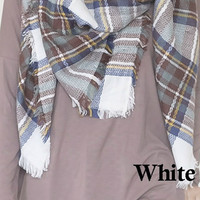 Oversized Blanket Scarf - White