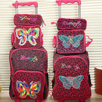new hand knitting butterfly children trolly school bag set  trolley luggage backpack kids luggage 3pc one set for boys and girls