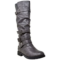 Womens Knee High Boots Faux Leather Slouchy Adjustable Buckles Gray