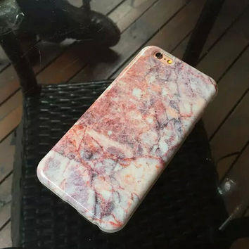 Womens Pink Marble iPhone 6 6s Plus Case iPhone 7 7 Plus case +Free Gift Gold Necklace