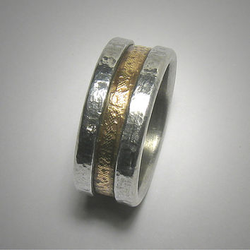 Mens wedding band // 14k yellow gold and silver Rustic comfort fit wedding band for men and women in 5.5 - 10mm wide // Mens Promise Ring