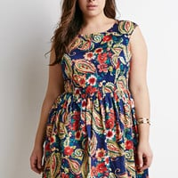 Paisley Print Fit & Flare Dress