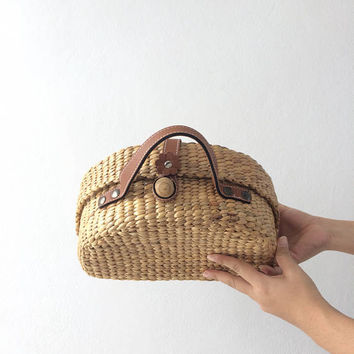 PREORDER Straw Bag / Picnic Bag / Straw basket / Beach Bag / Hand bags Boho Totes / Straw tote / Tote bag / Bridesmaids Totes /pom pom bag