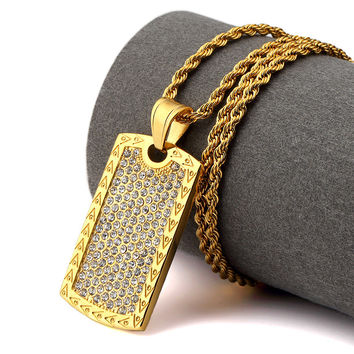 Premium Iced Out Dog Tag - Chain Included