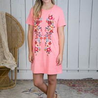 Floral Embroidered T-Shirt Dress, Coral