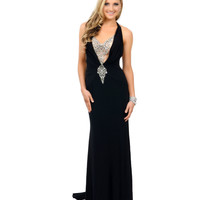 Black Beaded Halter Illusion Back Fitted Jersey Long Dress 2015 Prom Dresses