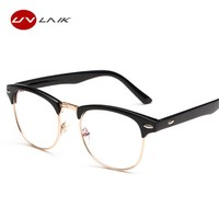 UVLAIK New Fashion Retro Half-frame Glasses Frame Men Women Optical Glasses With Clear Glass Transparent Glasses Women's Frame