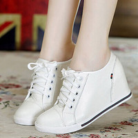 Hot-Selling !Black+White Women Genuine Leather Shoes Woman Fashion Hidden Wedge Heel Lace Up  Casual Shoes Size32-40
