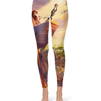 Lion King Disney Fine Art Painting Simba - Leggings in XS-3XL -  Sports or Fleece Fabric Leggins - Yoga, Gym, Thick Winter Gym Yoga 000671