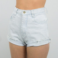 Vintage (Size XS) 80s Rio Distressed High Waisted Denim Shorts