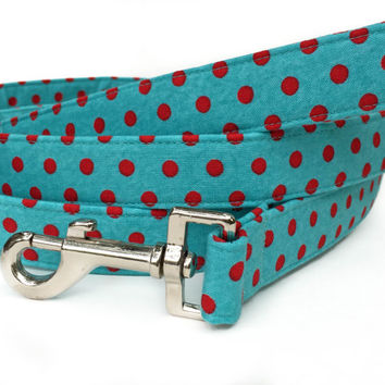 Polka Dot Dog Leash / Red Aqua Dog Leash / Red Polka Dot Leash / Matching Dog Leash / hand made dog leash / Red Blue Dog Leash