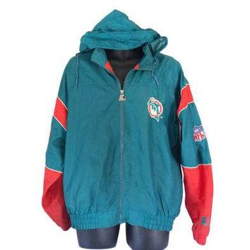 Vintage Miami Dolphins 90s Starter Jacket Hooded Windbreaker 90s Windbreaker Jacket Hooded jacket NFL Jacket Men Windbreaker 90s Pullover