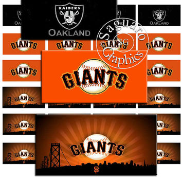 California Teams Raiders & Giants Art - Digital Collage Sheets - 2x1 inch Dominoes for Jewelry Makers, Party Favors, Crafts Projects
