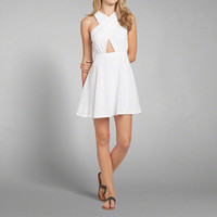 Lace Wrap Front Skater Dress