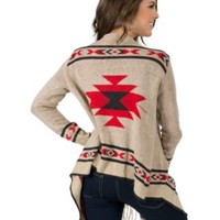 Angie® Women's Oatmeal with Red & Black Aztec Print & Fringe Long Sleeve Cardigan