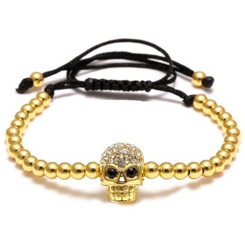 Men Punk Style Black Rope Zircon Copper Beads Skull Adjustable Bracelet