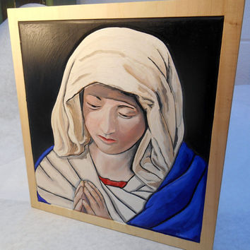 Oil Painting on Wood Mary, Oil Painting of Our Lady, Oil Painting of Mary, Framed Painting of Mary, Religious Painting