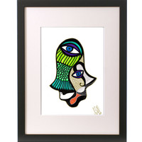 """Unique HAMSA Art, Signed.  """"Big Green Fish"""". Print of original ink drawing! Shapes come together with fresh colors, fish, a dove and eyes!"""