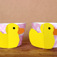 Pastel Pink Rubber Duck 3D Cupcake Wrappers - DIY printable party supplies – duckie wraps for showers or gender reveal - INSTANT DOWNLOAD