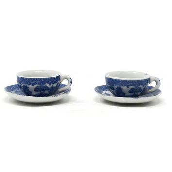 Occupied Japan Blue Transferware, Flo Blue, Ironstone Child's Toy Cup and Saucer Set / Made in Japan Blue Willow Toy Cup and Saucer