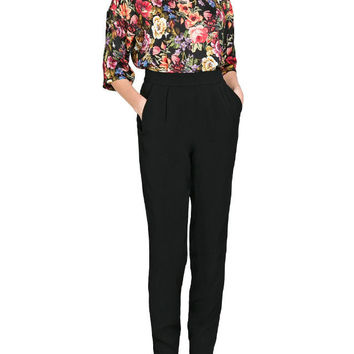 Black Pleat Pencil Pants With Pockets