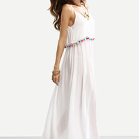 White Spaghetti Strap Pom-pom Decorated Dress -SheIn(Sheinside)