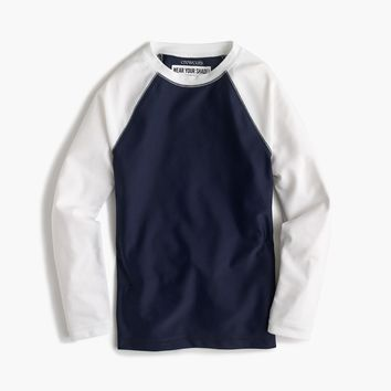 Boys' long-sleeve colorblock rash guard