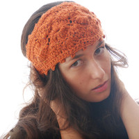 Orange headband, wool headband, crochet ear warmer, fashion headband, autumn fall headband, merino wool  headband, hippie boho headband