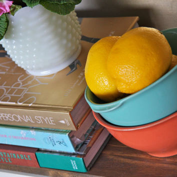 BAUER Style, California Style Pottery - Handled Mixing Bowls