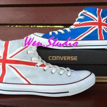 DCCK1IN wen original design union jack uk flag converse uk flag shoes hand painted shoes conve