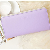 Fashion women wallet candy color PU leather wallet long Ladies clutch coin purse casual handbag Carteira Feminina DL1989