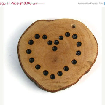 10% off Etsy SALE A Story Behind My Heart Wood Burned Pendant, Beaver Chew Wood Scrap, One Of A Kind Maple, Dots