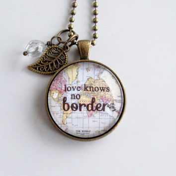 Love Knows No Borders Necklace - Map Pendant Necklace - World Map Pendant - Adoption Jewelry Gift - Travel Necklace - Missions Jewelry