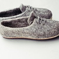 Men house shoes, organic wool felted slippers, Eco gift for him