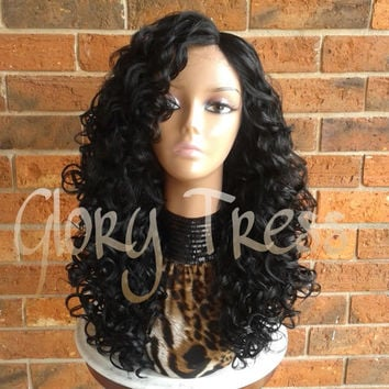 CLEARANCE // Long Black Curly Lace Front Wig, Ombre Wigs, Big Curly HairStyle // PEACE (Free Shipping)