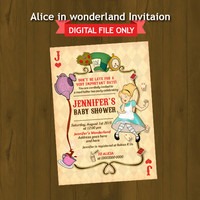 Alice in Wonderland Baby Shower Invitation - Vintage Alice Mad Hatter Tea Party Printable Baby Shower Invitation - Retro Alice Invitation