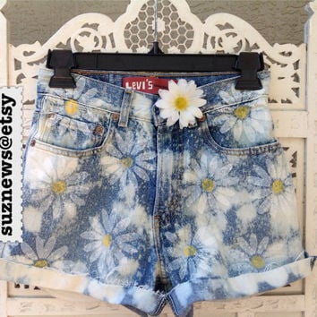Daisy Acid Wash High Waisted Shorts Daisies Festival Fashion 90's Hand Stamped Ready Made IN STOCK  //SuzNews Etsy Store//