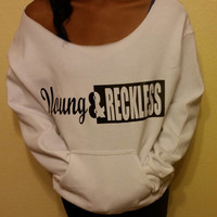 Young And Reckless Wideneck Off The Shoulder  Kangaroo Pocket Raw Edge Sweatshirt