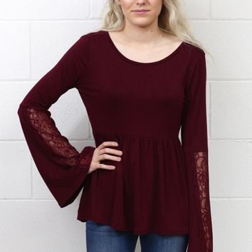 Lace Bell Sleeves Relaxed Peplum Blouse {Burgundy}