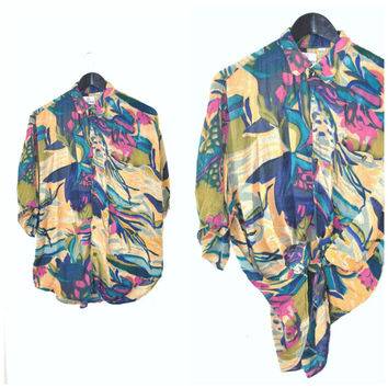 vintage 80s TROPICAL print button up shirt OVERSIZED relaxed fitting SURFER style short sleeve blouse os