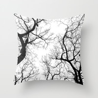 Black and white tree top silhouettes... Throw Pillow by Belkat