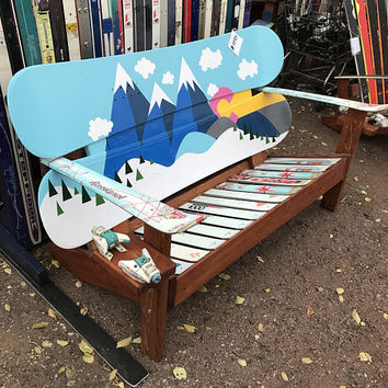 Oil Hand Painted - Cartoon Mountain Mural Adirondack Snowboard Bench