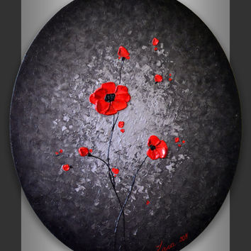 Original Modern Art 24x20 Oval Canvas Abstract Black Silver Landscape, Heavy Impasto Textured Red Poppies Painting, Mixed Media Artwork