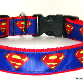 Superman on red webbing- adjustable dog collar only- Choose YOUR size.